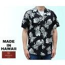 RJC ロバート・J・クランシー アロハシャツ メンズ ハワイ製 パイナップル 黒 ブラック「Pineapples」