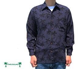 アロハシャツ 長袖 トゥーパームス ツーパームス TWO PALMS ハワイ製 レーヨン パームツリー Palm Tree L/S ノーマル襟 黒 ブラック メンズ ハワイ ブランド アメカジ