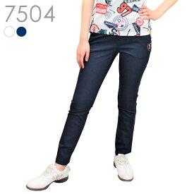 7504 刺繍入りストレッチロングパンツ 人気のホワイトとネイビー!春夏にちょうどよい生地感!ストレッチが効いていて動きやすく窮屈感もありません♪