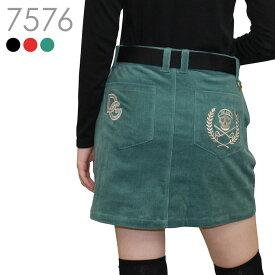 【2020秋冬新作】スカル刺繍コーデュロイストレッチスカート【M-3L】当店人気のスカル柄を秋に映える大人可愛いゴールド刺繍仕上げにしました♪ストレッチ性のあるコーディロイとアンダーパンツ一体型で動きやすいスカート
