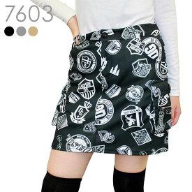 【2020秋冬新作】ワッペン柄カーゴスカート【M/L/LL/3L】伸縮性のある生地で動きやすい&アンダーパンツ付き!ゴルフボールが入る使えるポケット多数♪落ち着いたカラーにインパクトのあるワッペン柄!大人女子におすすめの主役スカートです