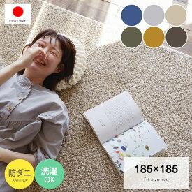 【185×185cm】日本製 シャギーラグ 洗える 床暖対応 洗濯可 防ダニ カーペット ラグ 滑り止め 遊び毛なし 【一部地域/送料別】