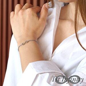 つけっぱなしok インフィニティ シンプル チェーン ブレスレット イニシャル ナンバー カップル ペア 記念日 名入れ 刻印 メンズ レディース 1st Infinity