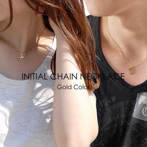 誕生石 イニシャル チェーン ネックレス ゴールドカラー カップルでペアやプレゼントに最適 メンズ レディース ステンレス APZ9003-GD 刻印 名入れ 可 [単品販売]
