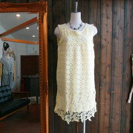 サイレントワース刺繍ノースリーブ刺繍レースダイヤ柄パネルワンピースイエロー系