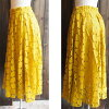 Silent Worth extreme popularity! The size small size sleeve knee-length knee length plain fabric wedding ceremony four circle that there is that dot pattern race flare skirt yellow 3/16 arrival V neck dolman of superior grade has a big