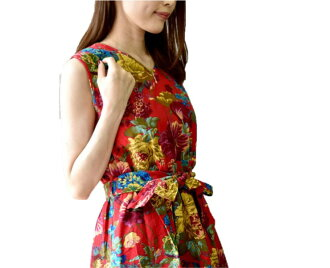The size small size sleeve knee-length knee length plain fabric wedding ceremony four circle that there is that silent Worth floral design print dress red V neck dolman of superior grade has a big