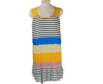 It is horizontal stripes panel print pleats dress mustard system silent Worth SALE reentry load