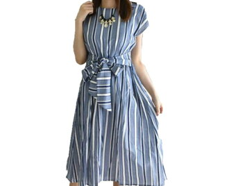 ★The size small size sleeve knee-length knee length plain fabric wedding ceremony four circle that there is that silent Worth ★ waist ribbon multi-stripe dress blue V neck dolman of superior grade has a big