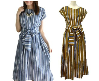 ★The size small size sleeve knee-length knee length plain fabric wedding ceremony four circle that there is that silent Worth ★ waist ribbon multi-stripe dress brown V neck dolman of superior grade has a big