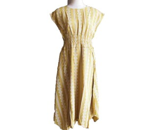 The size small size sleeve knee-length knee length plain fabric wedding ceremony four circle that there is that silent Worth jacquard cotton waist shirring reshuffling heme dress yellow arrival V neck dolman of superior grade has a big