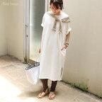 【あす楽対応_東海】オーバーサイズコットン半袖Tシャツワンピースオフホワイト