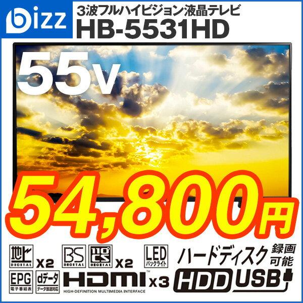 液晶テレビ 55インチ(55型) 外付けHDD録画対応 bizz(ビズ)HB-5531HD