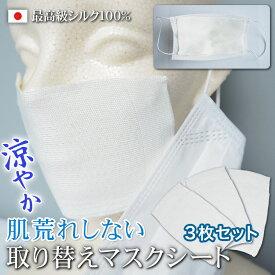 マスク 美肌美容 秋冬 マスク 肌荒れしない シルク マスク 日本製 洗える マスク アトピー シルクマスク 夏 マスク 涼しい シルク100% マスクシート フィルターシート 3枚セット マスク 取替えシート シルク マスク フィルター シート マスクフィルターシート 送料無料 冷感
