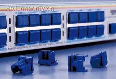 ヘラマンタイトン RJ45ダストカバー・スイングタブLANポートカバー【色:紺色】【エストラマー製】DCMJST【1箱100個入り】
