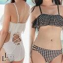 バックレースアップ デザイン フレアチュールモノキニ ワンピース水着 かわいい 女性 スイムウェア スイミング レディ…