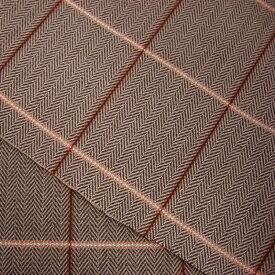【生地】 岡山県産 ブラウン格子ヘリンボーン 8オンス(8oz) 綿(コットン):100% ヘリンボーン