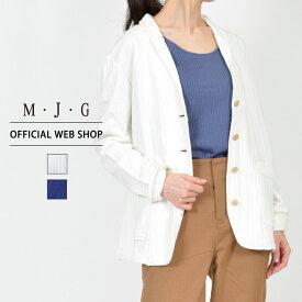 【M・J・G公式】 [SALE] エムジジェ/綿100%ソフトジャケット/レディース オフホワイト 杢グレー ネイビー アウター 上着 ジャケット ミセス きれいめ [春夏] GMT161