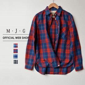 【M・J・G公式】 [SALE] エムジジェ/2wayチェックシャツ/レディース インディゴブロックチェック赤 インディゴタータンチェック赤 インディゴウィンドウペン青 ガーゼタータンチェック黒 トップス シャツ デニム ミセス きれいめ [春夏] GMT582