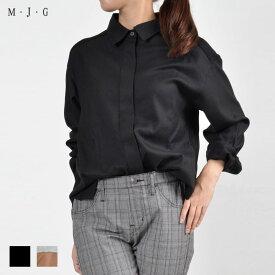 【M・J・G公式】 [SALE] エムジジェ/カットコンビシャツ/レディース ブラック×ブラック キャメル×グレー トップス シャツ ミセス きれいめ GMT595