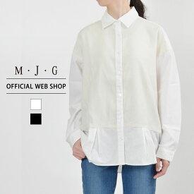 【M・J・G公式】 [SALE] エムジジェ/ぱりっとBIGシャツ/レディース オフホワイト ブラック トップス シャツ ミセス きれいめ GMT596