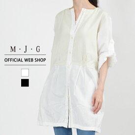 【M・J・G公式】 [SALE] エムジジェ/シャツワンピ/レディース オフホワイト ブラック トップス シャツ カラーパンツ ミセス きれいめ GMT597