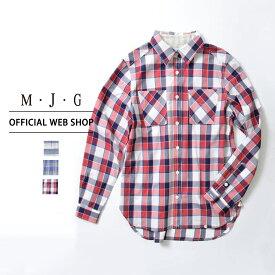 【M・J・G公式】 [SALE] エムジジェ/チェックシャツ/レディース 接結ボーダー 接結チェックブルー 接結チェックネイビー インディゴチェック トップス シャツ ミセス きれいめ [春夏] GMT605