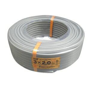 年末ポイント5倍還元セール![送料無料]富士電線VVFケーブル2.0mm×3C 100m巻 灰色