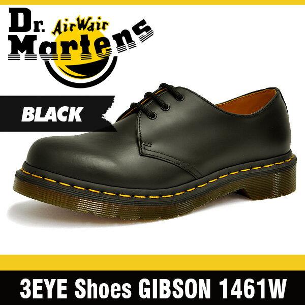 ドクターマーチン (Dr. Martens)ギブソン 3ホール シューズ ブラック レディース R11837002 1461 W 3Hole Shoes