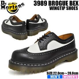 ドクターマーチン 5ホール メンズ レディース ブローグ ブラック/ホワイト Dr.Martens 5HOLE 3989 BROGUE SHOE BEX 34 F BLACK/WHITE 10458001