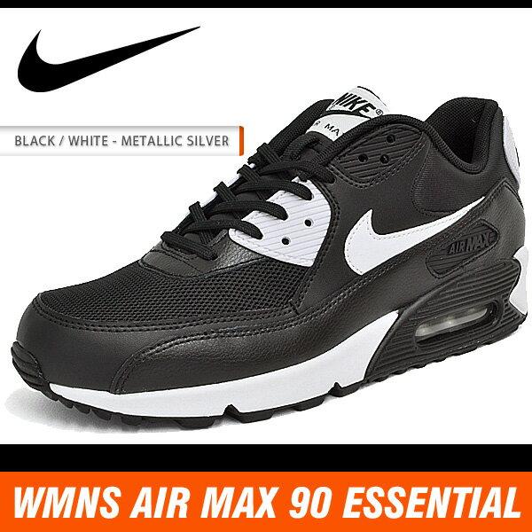 ナイキ スニーカー メンズ レディース ウィメンズ エア マックス 90 エッセンシャル ブラック/ホワイト/メタリック シルバー NIKE WMNS AIR MAX 90 ESSENTIAL BLACK/WHITE-METALLIC SILVER 616730-023