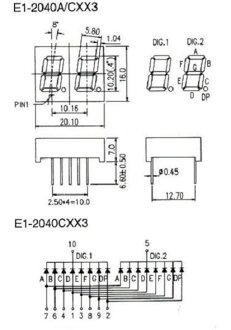 7 세그먼트 LED/2 개 세트 E1-2040CHY3 E1-2040CHG3