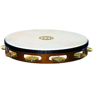 MEINL Percussion マイネル タンバリン Traditional Goat-Skin Wood Tambourine Brass Jingles 1row TAH1B-AB 0840553061994