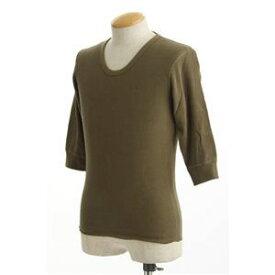 その他 米軍 ドッグタグ付き コットンサーマルUネックシャツ 五分袖 オリーブ Lサイズ ds-467930