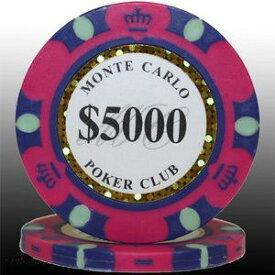 その他 MONTECARLO モンテカルロ・ポーカーチップ<5000>桃 25枚セット ds-729607