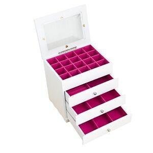 その他 ジュエリーボックス(宝石箱) 4段 引き出し収納付き ホワイト(白) ds-1093883