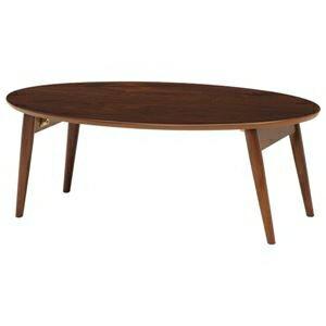 その他 折れ脚テーブル(ローテーブル/折りたたみテーブル) 楕円形 幅90cm×奥行50cm×高さ33.5cm 木製 ブラウン【代引不可】 ds-1314904