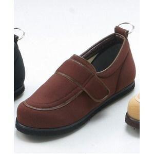 その他 介護靴/リハビリシューズ ブラウン LK-1(外履き) 【片足23cm】 3E 左右同形状 手洗い可/撥水 (歩行補助用品) 日本製 ds-1450717