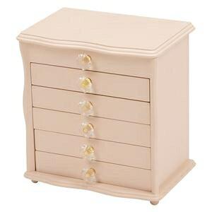 その他 ジュエリーボックス(宝石箱) 6段 幅26cm×奥行16.5cm クリスタル型取っ手付き ピンク ds-1629434
