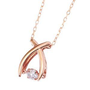 その他 ダイヤモンドペンダント/ネックレス 一粒 K18 ピンクゴールド 0.08ct ダンシングストーン ダイヤモンドスウィングネックレス 揺れるダイヤが輝きを増す☆ リボンモチーフ 揺れる ダイヤ ds-1648367