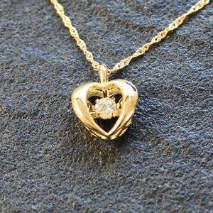 その他 18金 天然 ダイヤモンド ダンシングストーン ハート ネックレス ペンダント ds-1806526