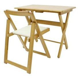 その他 折りたたみ式デスク・チェアセット 木製 椅子座面:合成皮革(合皮) ナチュラル 【完成品】 ds-1806828