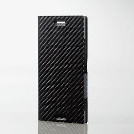 エレコム Xperia XZ1/ソフトレザーカバー/薄型/磁石付/カーボン調ブラック PM-XZ1PLFUCB