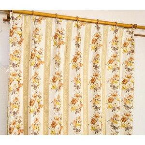 その他 5種類から選べる遮光カーテン 2枚組 100×110 イエロー ローズ柄 花柄 洗える 形状記憶 タッセル付き ストライプフラワー ds-1999993