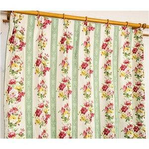 その他 5種類から選べる遮光カーテン 2枚組 100×110 グリーン ローズ柄 花柄 洗える 形状記憶 タッセル付き ストライプフラワー ds-1999994