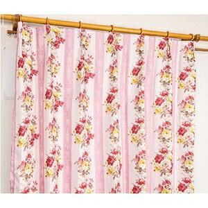 その他 5種類から選べる遮光カーテン 1枚のみ 150×200 ピンク ローズ柄 花柄 洗える 形状記憶 タッセル付き ストライプフラワー ds-2000007