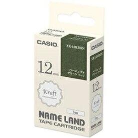 その他 (まとめ)カシオ NAME LANDクラフトテープ 12mm×5m グリーン/ベージュ文字 XR-12KRGN 1個【×20セット】 ds-2306160