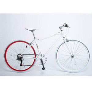 21Technology クロスバイク(6段変速付き)泥除けなし、ディレイラーガード無し (CL266-ホワイトレッド) 4562320210317