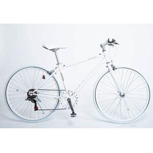21Technology クロスバイク(6段変速付き)泥除けなし、ディレイラーガード無し (CL266-ホワイト) 4562320213196