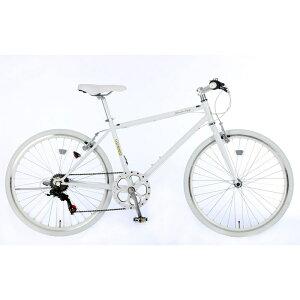 21Technology 26インチ クロスバイク(6段変速付き)泥除けなし、ディレイラーガード無し (CL266-G-ホワイト) 4562320219020